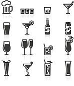 Alcoholic drinks, bottles and glasses representing alcohol beverages such as beer, lager, cocktails, liquor, whisky, chasers and shots.