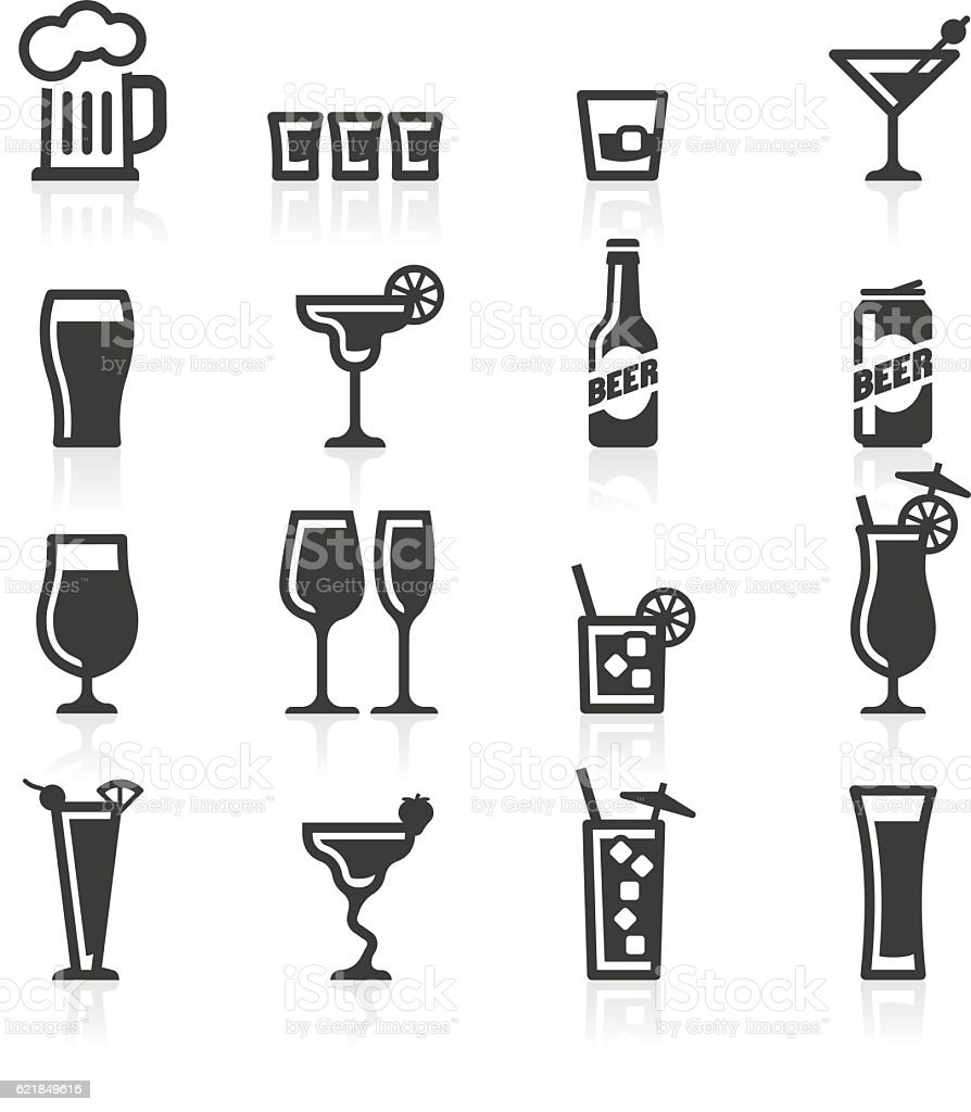 Alcoholic drinks icons - ilustración de arte vectorial