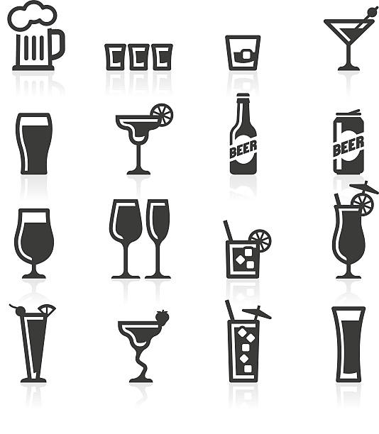 Alcoholic drinks icons Alcoholic drinks, bottles and glasses representing alcohol beverages such as beer, lager, cocktails, liquor, whisky, chasers and shots. beer stock illustrations