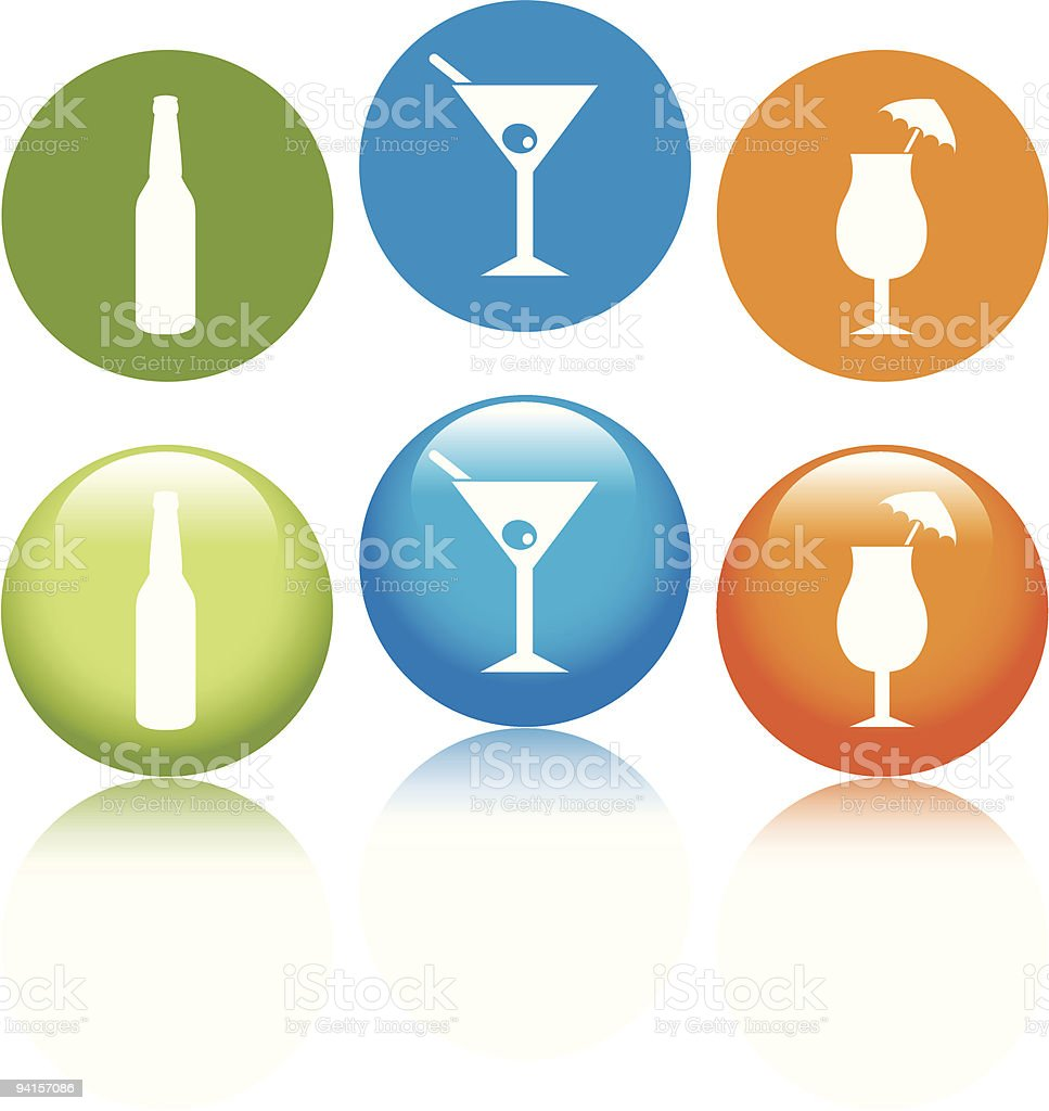 Alcoholic Drinks Icons royalty-free stock vector art