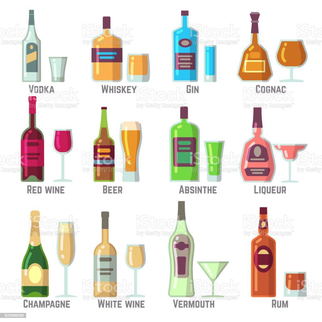 Alkoholische Getränke In Flaschen Und Gläser Flache Vektoricons Set ...