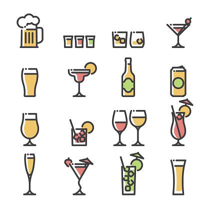 Alcoholic drinks - line art icons