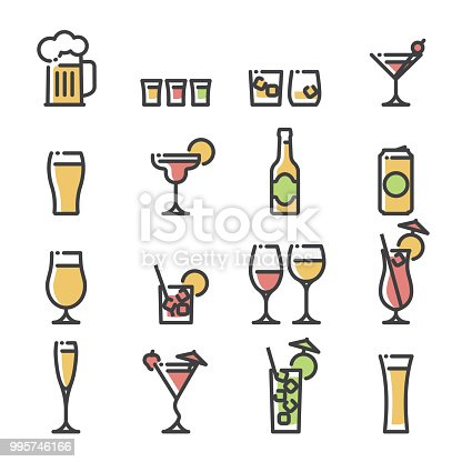 Line art icons representing various generic alcoholic drinks in their respective glasses. Drinks include beer, wine, spirits and cocktails.