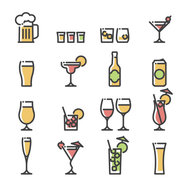 Alcoholic drinks - line art icons Line art icons representing various generic alcoholic drinks in their respective glasses. Drinks include beer, wine, spirits and cocktails. alcohol drink icons stock illustrations