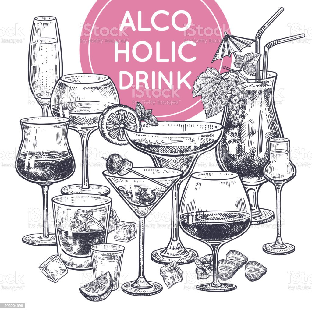 Alcoholic drinks poster. vector art illustration