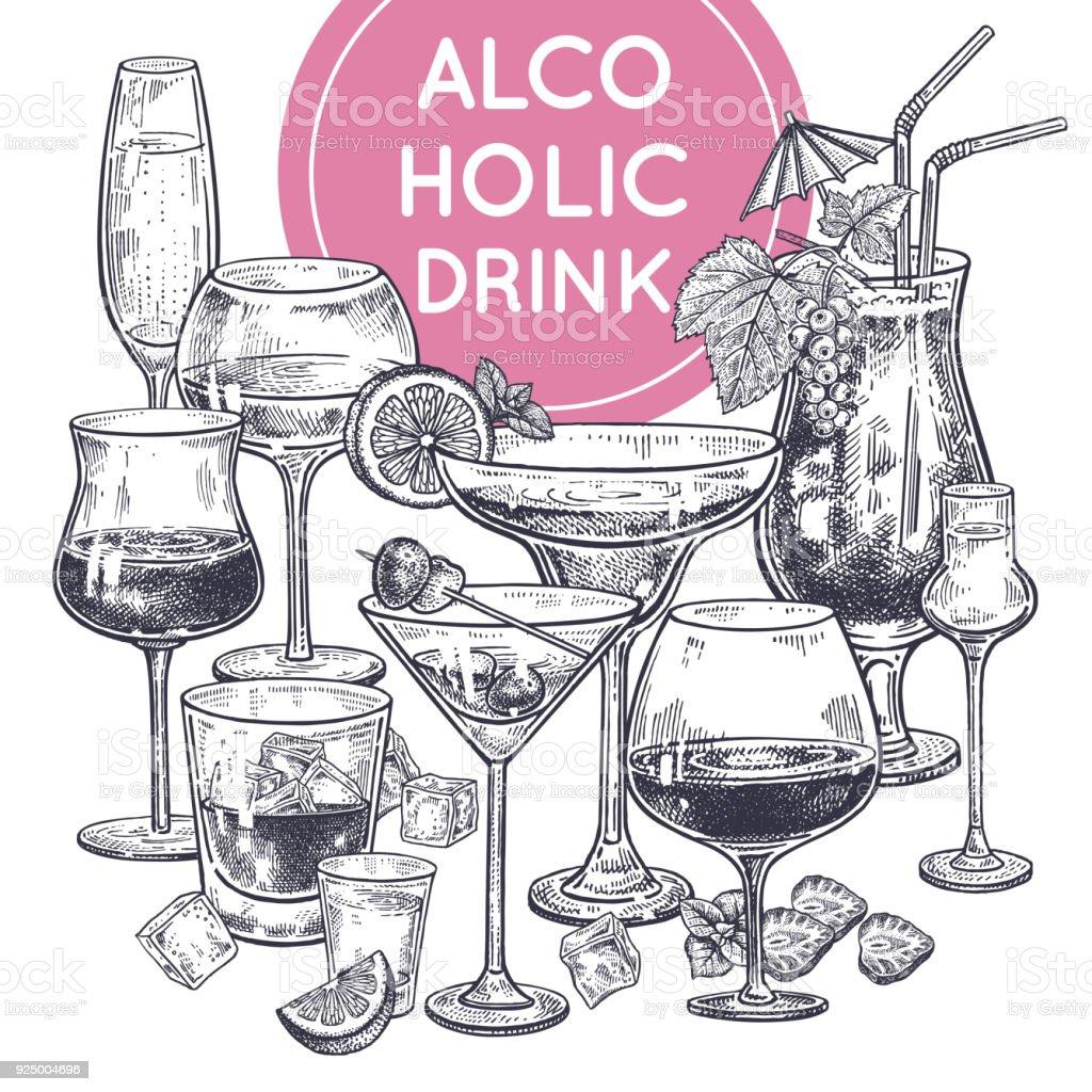 Cartaz de bebidas alcoólicas. - ilustração de arte em vetor