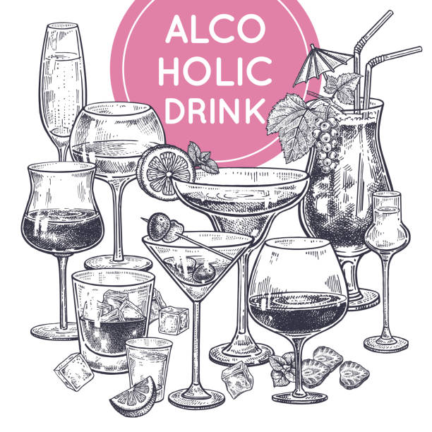 alcoholic drinks poster. - refreshment stock illustrations, clip art, cartoons, & icons