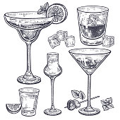 Alcoholic drinks set. Margarita; whiskey; tequila; vodka and vermouth in glasses; ice; olives; mint; lemon. Isolated on white background. Black and white. Vintage. Hand drawing. Vector illustration.