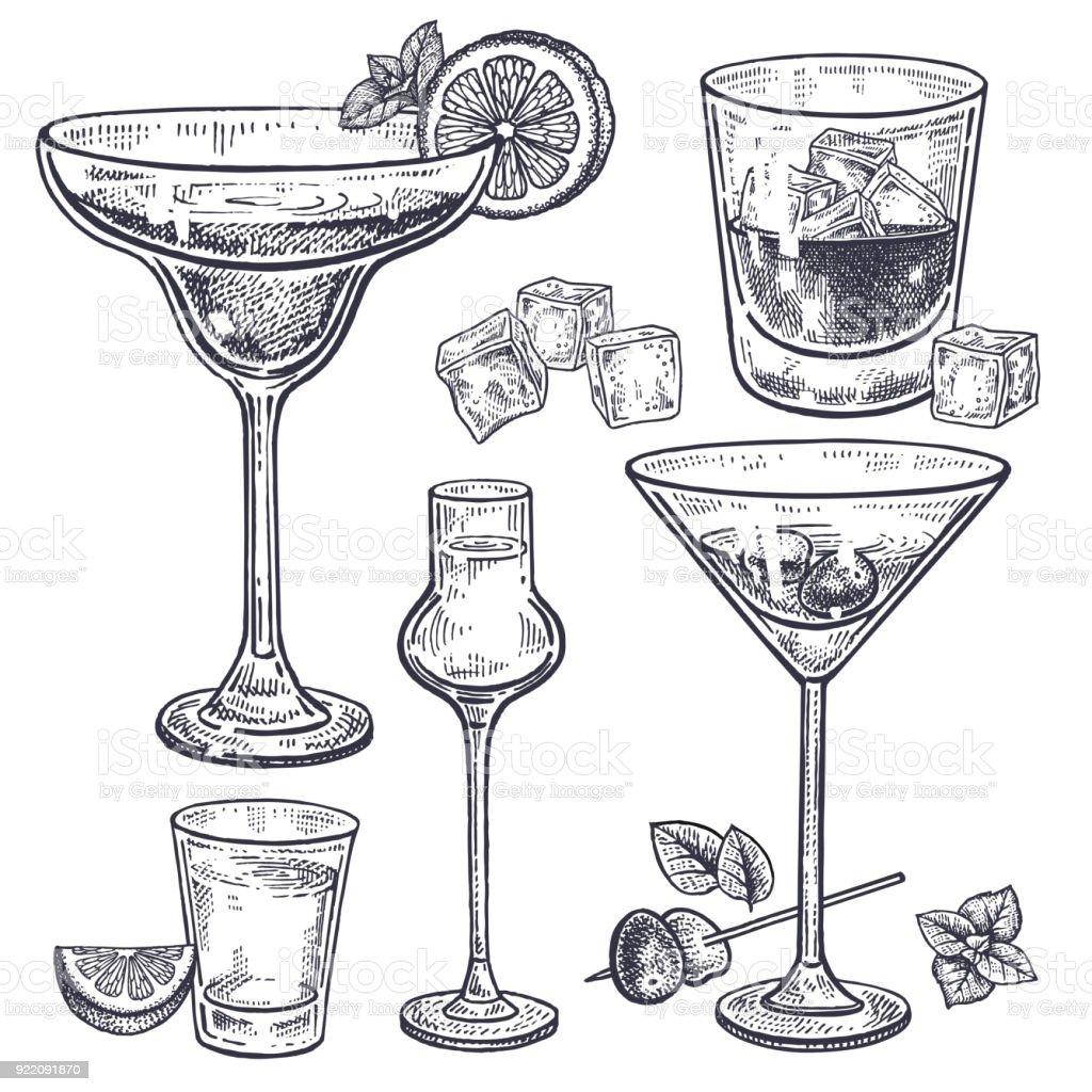 Conjunto de bebidas alcohólicas. - ilustración de arte vectorial