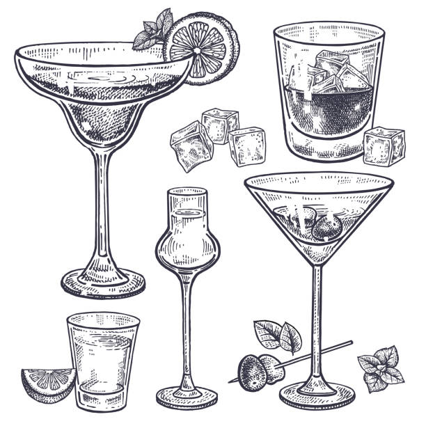 alcoholic drinks set. - alcohol drink silhouettes stock illustrations