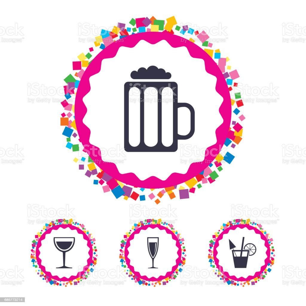Alcoholic drinks signs. Champagne, beer icons. royalty-free alcoholic drinks signs champagne beer icons stock vector art & more images of alcohol