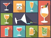 Horizontal flat design illustration with various alcoholic drinks and cocktails