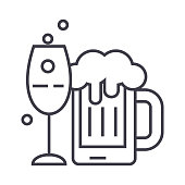 alcoholic drinks vector line icon, sign, illustration on white background, editable strokes