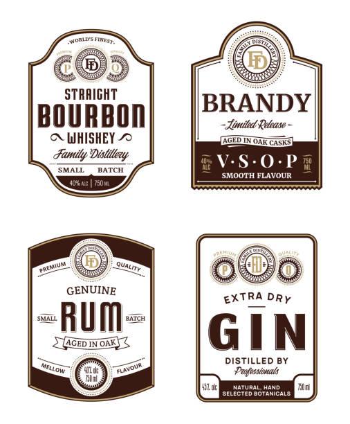 Alcoholic drinks vintage labels vector art illustration
