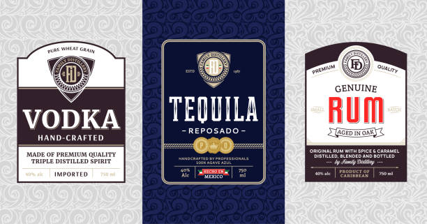 Alcoholic drinks vintage labels Alcoholic drinks vintage labels and packaging design templates. Vodka, tequila and rum labels. Distilling business branding and identity design elements. vodka stock illustrations