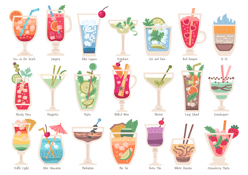 Alcoholic fruit cocktails set. Beach party drinks