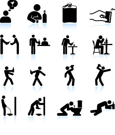 Alcoholic Life black & white royalty free vector icon set