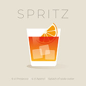 Alcoholic Spritz Cocktail on white background. Stock illustration