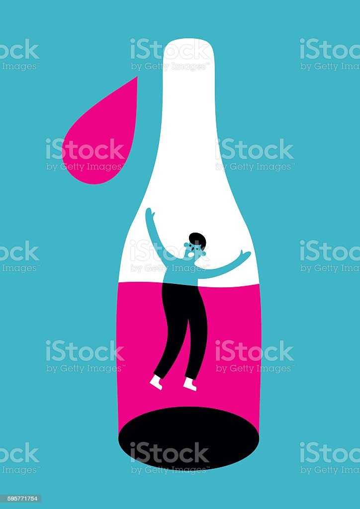 Alcoholism concept vector art illustration