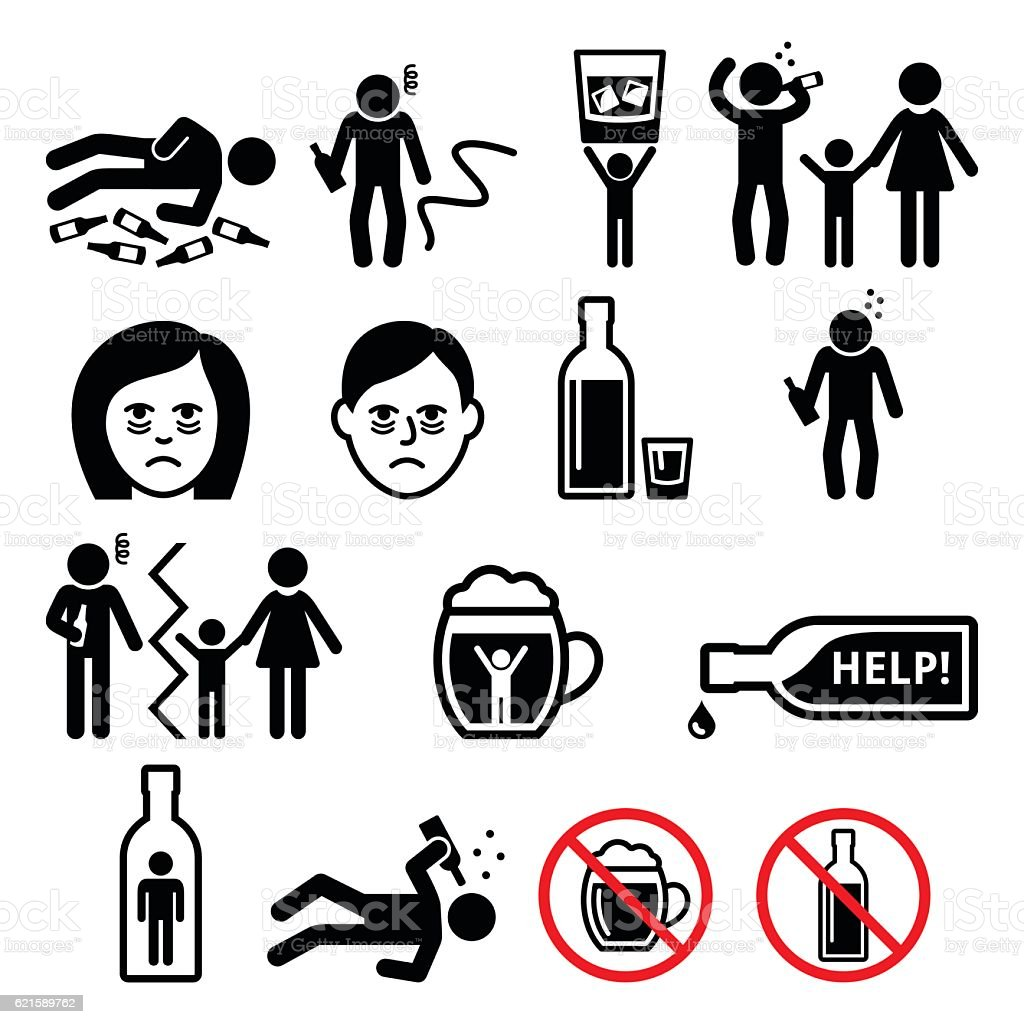 Alcoholism, drunk man, alcohol addiction icons vector art illustration