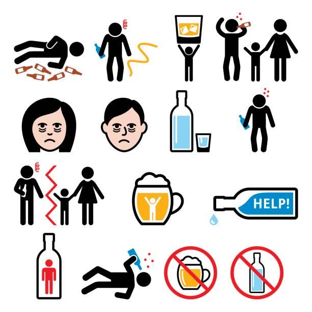 bildbanksillustrationer, clip art samt tecknat material och ikoner med alkoholism, berusad man, alkohol addiction ikoner - plakat