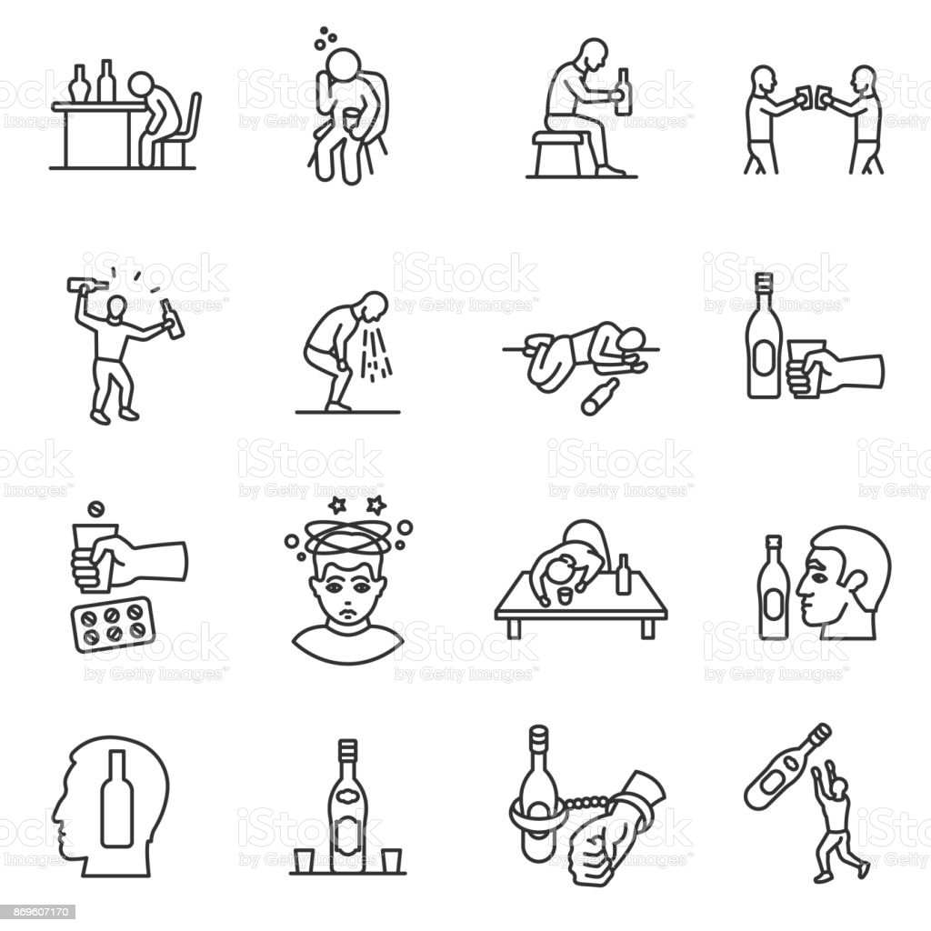 Alcoholism, drunkenness icons set. Editable stroke