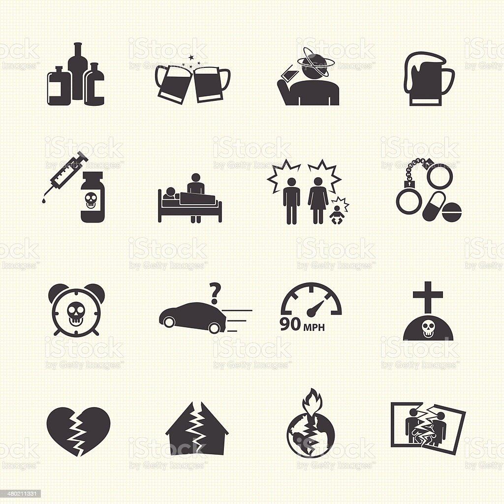 Alcoholism icons set. vector art illustration