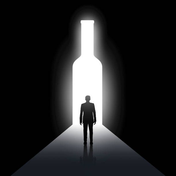 Alcoholism Silhouette of man and the bottle. Alcoholism and drunkenness. Stock vector image. alcohol drink silhouettes stock illustrations