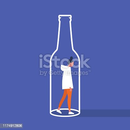Alcoholism. Young female character trapped inside a bottle. Addiction. Booze. Flat editable vector illustration, clip art