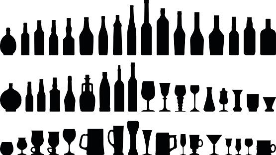 Alcohols Bottles & Glasses