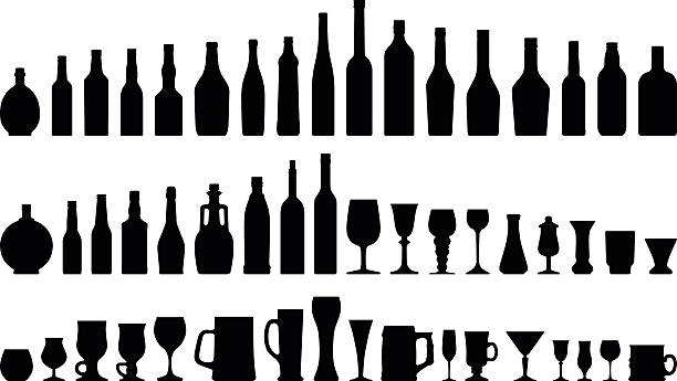 Alcohols Bottles & Glasses High detailed Silhouettes of Alcohol bottles & glasses in all shapes. bottle stock illustrations
