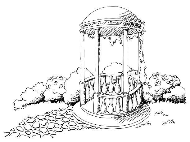 alkoven pavillon grafik schwarz-weiß-vektor-illustration-landschaft - steinpfade stock-grafiken, -clipart, -cartoons und -symbole