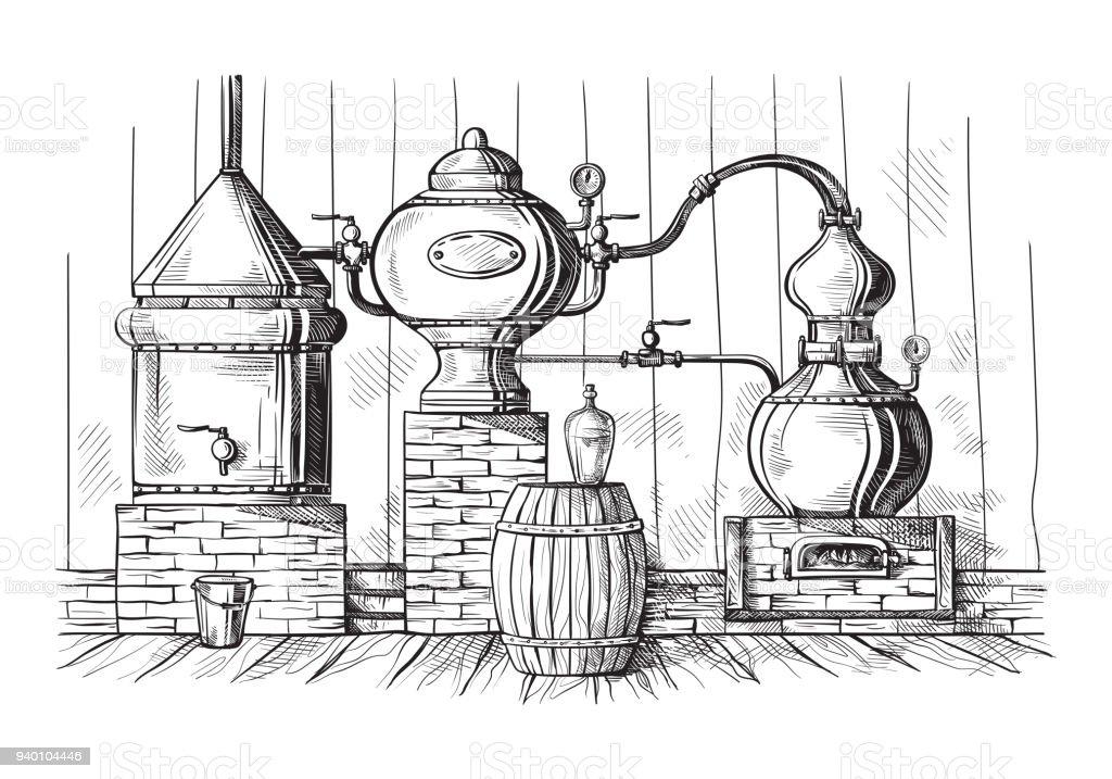alambique todavía para la fabricación de alcohol en destilería sketch - ilustración de arte vectorial