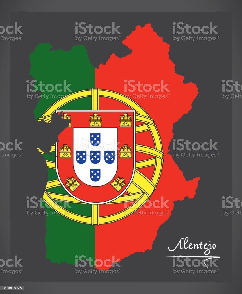 Alentejo Portugal Map With Portuguese National Flag Illustration - Portugal map flag