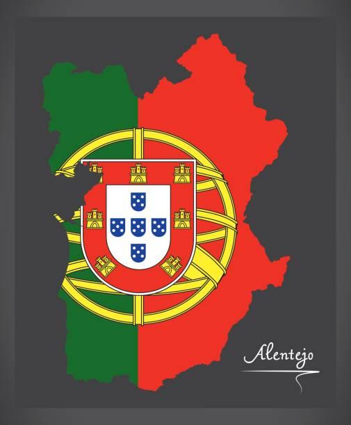 Alentejo Portugal map with Portuguese national flag illustration - ilustração de arte vetorial