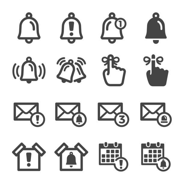 alert and reminder icon set alert and reminder icon set,vector and illustration memories stock illustrations