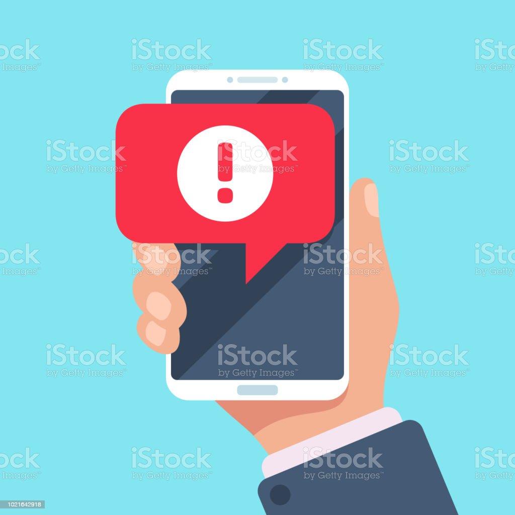 Móvil notificación de mensaje de alerta. Alertas de error de peligro, las notificaciones del problema o spam virus en ilustración de vector de pantalla teléfono - arte vectorial de Agarrar libre de derechos