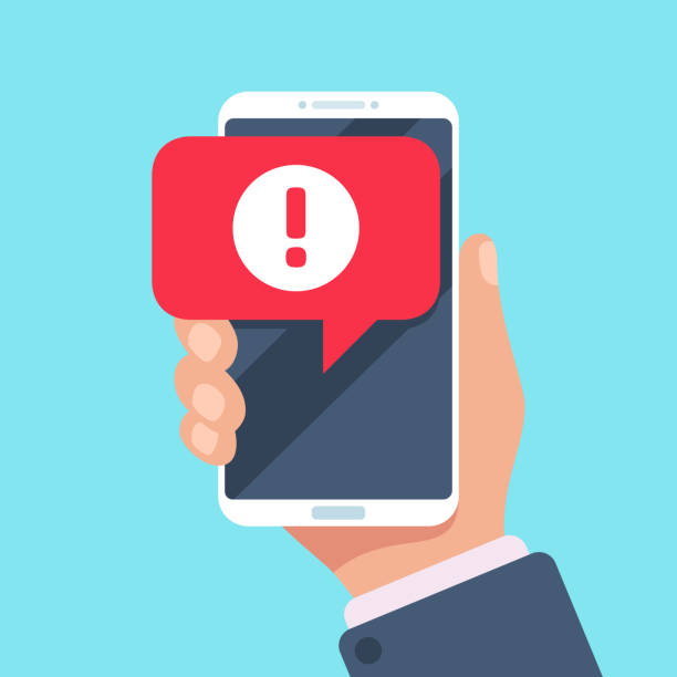 alert message mobile notification. danger error alerts, virus problem or spam notifications on phone screen vector illustration - mobile phone stock illustrations, clip art, cartoons, & icons