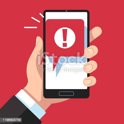 Alert message mobile notification. Hand holding smartphone with exclamation sign, virus notification on phone screen vector red error or spam messaging device prevention concept