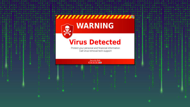 alert message of virus detected. scanning and identifying computer virus inside binary code listing of matrix. template for concept of security, programming and hacking, decryption and encryption - virus stock illustrations