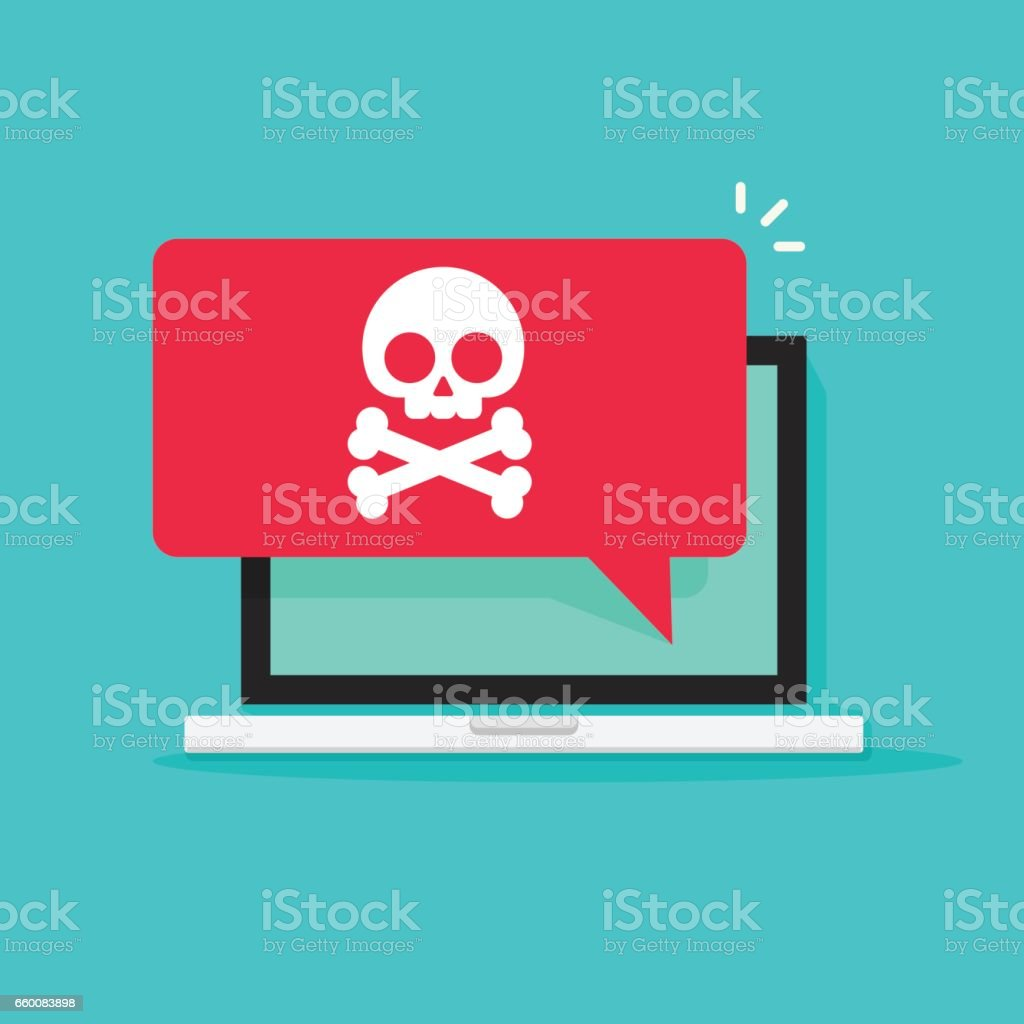 Alert notification on laptop computer vector, malware concept, spam data, online scam, virus vector art illustration