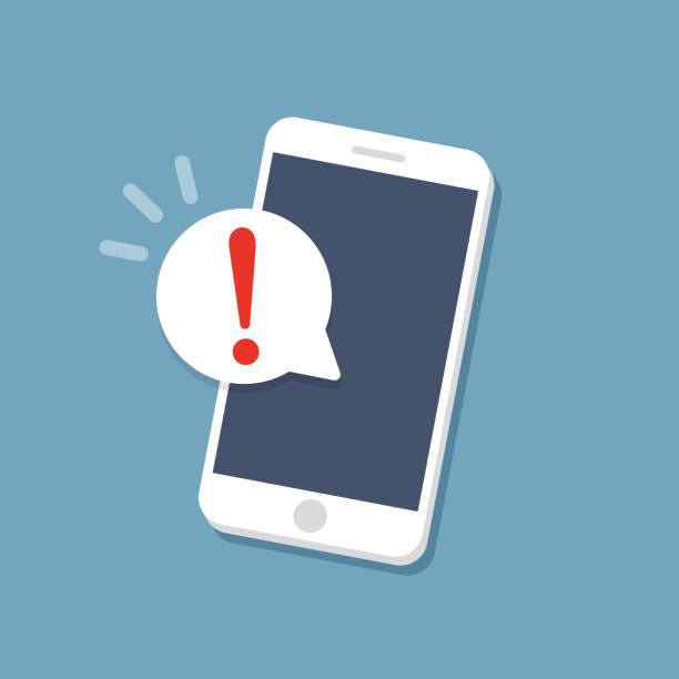 Alert notification on the smartphone screen. Flat vector Alert notification on the smartphone screen. Flat vector phone stock illustrations