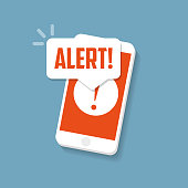 Alert sign on the smartphone screen. Important reminder.