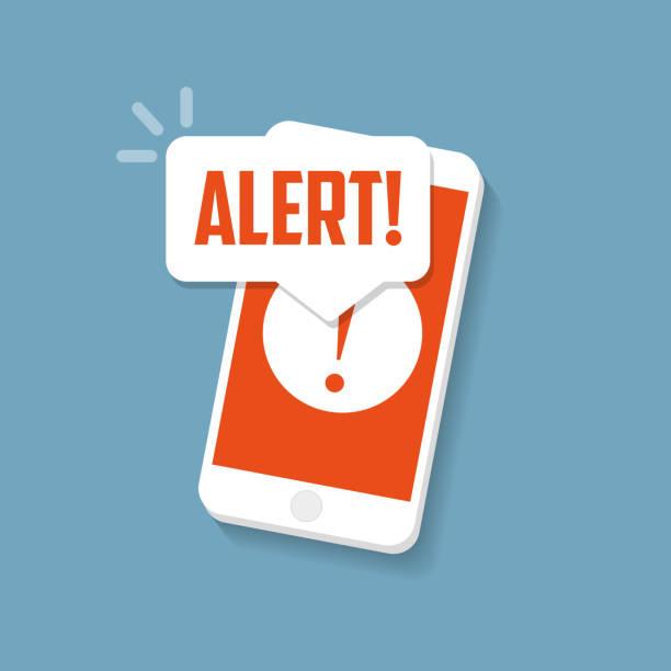 alert sign on the smartphone screen. important reminder. - reminder stock illustrations