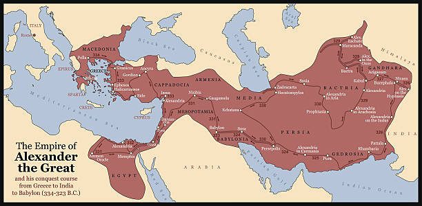 ilustrações, clipart, desenhos animados e ícones de alexandre o grande império - mapa do oriente médio