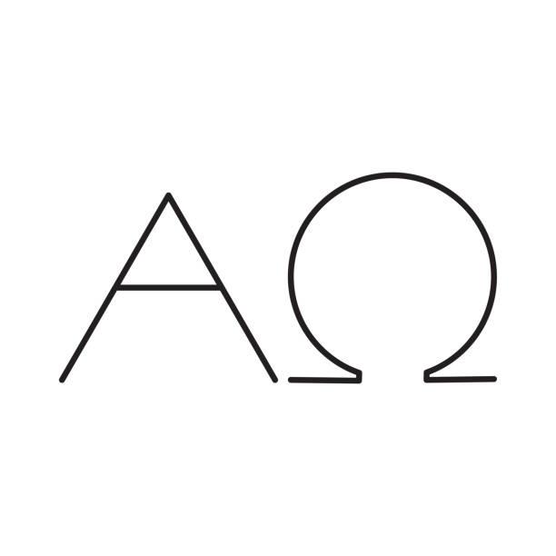 alfa omega line icon vector art illustration