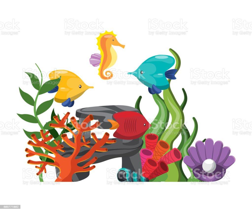 algae coral fish oyster shell and sea horse icon. Vector graphic algae coral fish oyster shell and sea horse icon vector graphic – cliparts vectoriels et plus d'images de algue libre de droits