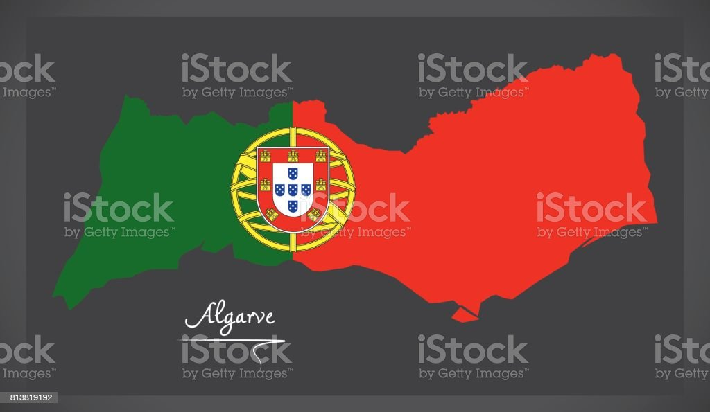 Carte de Algarve Portugal avec illustration de drapeau national portugais - Illustration vectorielle