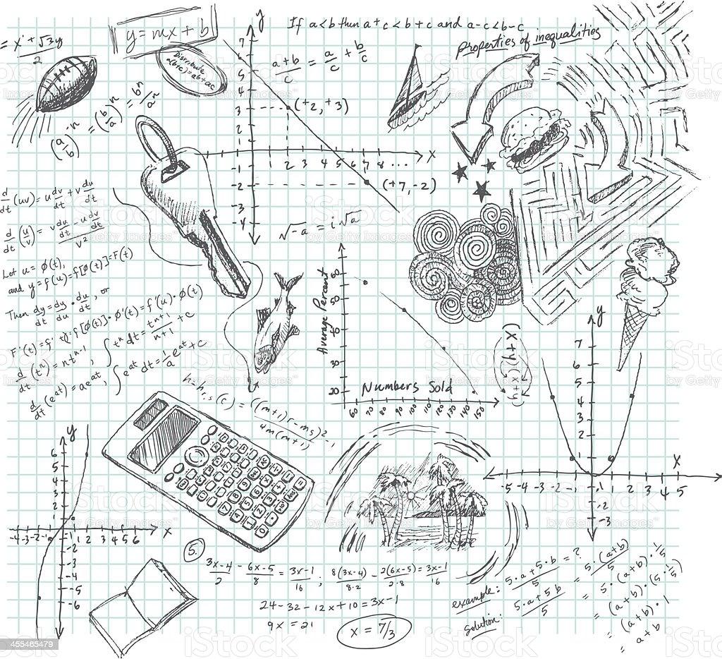 Algebra Class Daydream Doodle vector art illustration