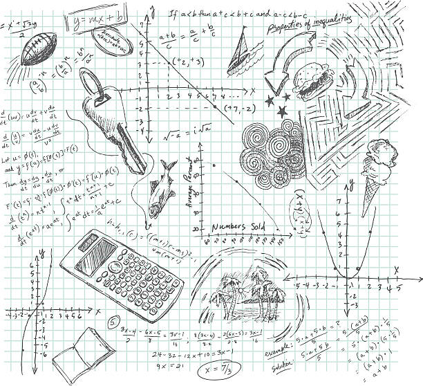 algebra class daydream doodle - high school stock illustrations, clip art, cartoons, & icons